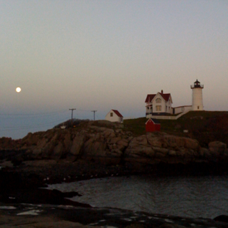 Moonrise at the Nubble